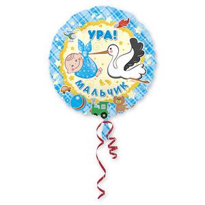 Бюджетные фольгированные шары на выписку из роддома воздушными шарами