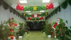 Недорогое оформление интерьера на новый год воздушными шариками