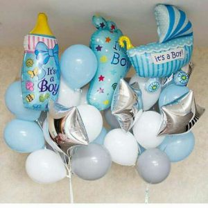 Тематически оформить композицию из шаров на выписку из роддома воздушными шарами недорого
