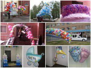 Оригинальное оформление на выписку из роддома воздушными шариками в Москве