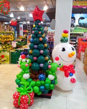 Оригинальное оформление новогоднего праздника воздушными шарами в Москве