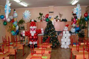 Бюджетное оформление новогоднего праздника шариками в Москве