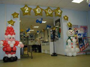 Тематическое оформление новогоднего праздника воздушными шариками недорого