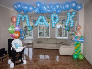 Тематическое Украшение шарами на выписку воздушными шарами срочно
