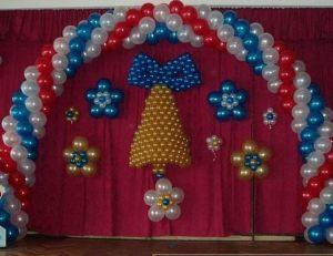 Стильное оформление сцены на новый год шарами срочно