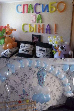 Интересное Украшение комнаты на выписку из роддома воздушными шарами недорого