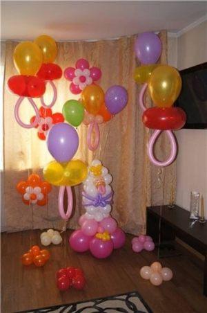 Стильное Украшение комнаты на выписку из роддома шарами