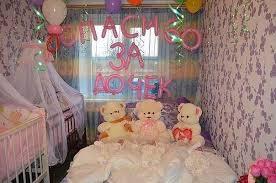 Недорогое Украшение комнаты на выписку из роддома воздушными шарами в Москве