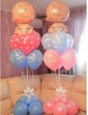Необычное Украшение комнаты на выписку из роддома воздушными шарами срочно
