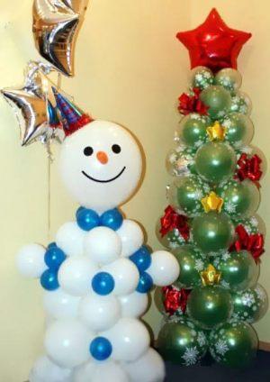 Интересные украшение дома шарами на Новый год