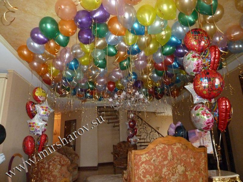 Стильное оформление женщине дня рождения шариками недорого