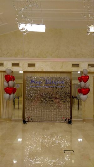 новый год блестящая стена из пайеток аренда москва