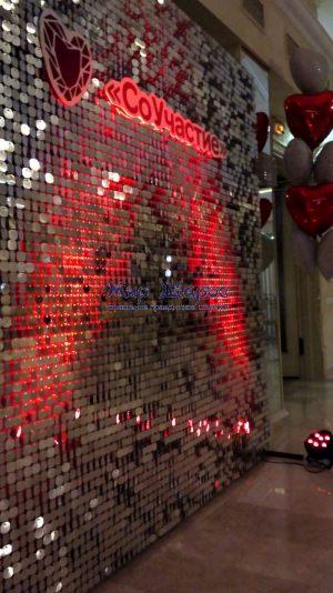 новогодняя  фотозона из пайеток аренда москва
