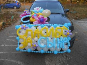 Стильное оформление гелиевыми шарами на выписку воздушными шарами недорого
