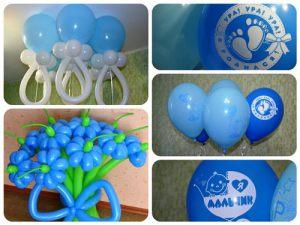 Необычное оформление гелиевыми шарами на выписку шариками недорого  Интересное оформление гелиевыми шарами на выписку воздушными шарами в Москве