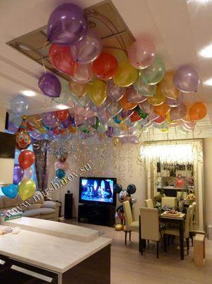 Оригинальное оформление квартиры на день рождение шарами в Москве