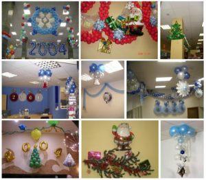 Тематическое оформление офиса на новый год шарами