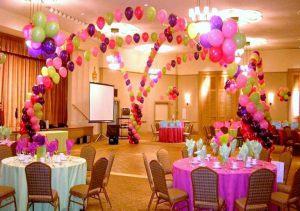 Интересное оформление ресторана на день рождение воздушными шарами недорого