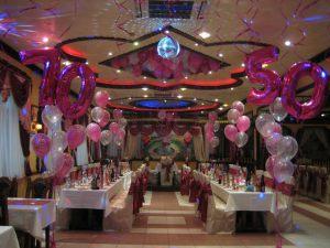 Стильное оформление ресторана на день рождение шариками в Москве