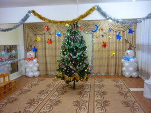 Современное новогоднее оформление шарами в детском саду срочно