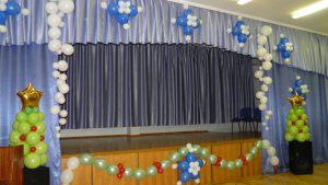 Современное новогоднее оформление шарами в детском саду заказать в Москве