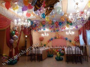 Интересное оформление стола на день рождение воздушными шариками