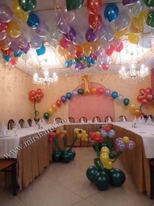 Необычное оформление стола на день рождение воздушными шарами в Москве