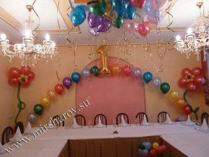 Красивое оформление стола на день рождение шариками